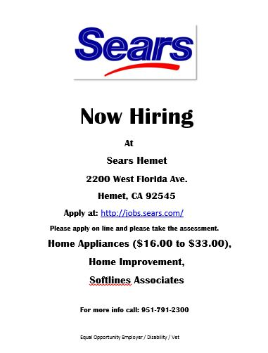 9410417e99e Sears Now Hiring